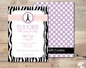 PRINTABLE PARTY INVITATIONS -- Bonjour Butterfly / Parisian Party Collection (Customizable) -- Mirabelle Creations