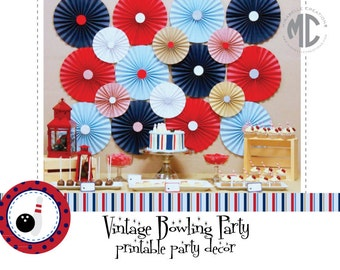 PRINTABLE PARTY COLLECTION -- Vintage Bowling Party Collection -- Mirabelle Creations