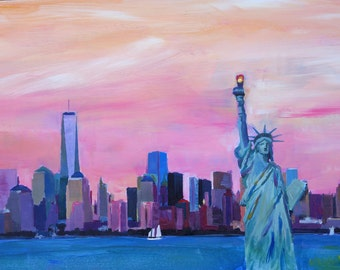 New York City - Manhattan Skyline with Downtown World Trade Center One and Statue of Liberty