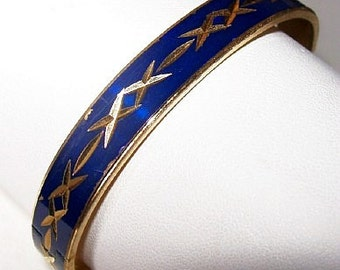 "Bangle Bracelet Royal Blue Enamel Gold Metal Criss Cross Design Ladies 2.5""Vintage"