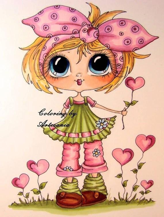 Instant download digital digi stamps big eye big head dolls - Dibujos para pintar en tela infantiles ...