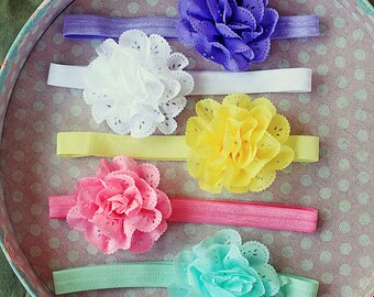 Baby Gift Set of Spring Chiffon Eyelet Flower Blossom Headband Set for Babies, Toddlers and Girls
