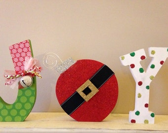 Joy letter set Christmas decoration holiday decor mantle shelf ornament