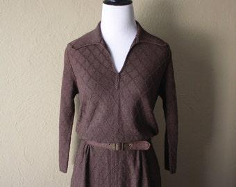 Vintage Brown Knit Sweater Dress