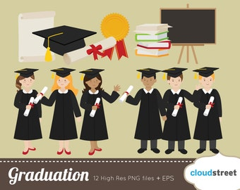 buy 2 get 1 free Graduation clipart for personal and commercial use ( graduation clip art and vector illustration )
