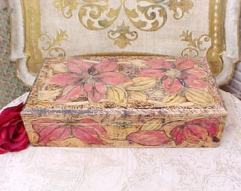 Charming Antique Pyrography Wooden Treasure Box with Poinsettia Design