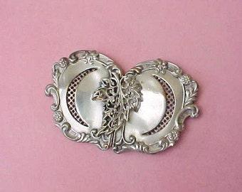 Beautiful Victorian 2 Part Rococo Style Silver Sash Buckle