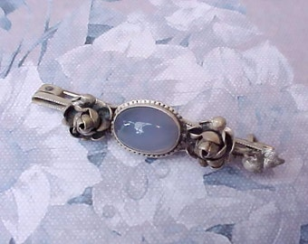 Charming Little Sterling Silver German Brooch With Roses