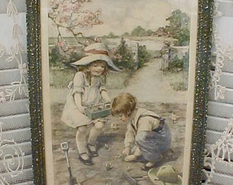 Beautiful and Original Vintage Print of Darling Children Planting a Garden by M.M.Grimball