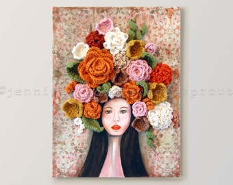 """Flowers in Her Hair 18"""" x 24"""" CROCHET + PAINTING on CANVAS Portrait, Face with Floral Headdress"""