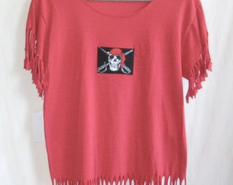Ladies Red Extra Large Pirate Fringed T Shirt