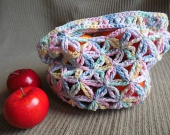 Small Market Bag, Star Pattern - USA Grown Custom, Pretty Pastels Shipping Included