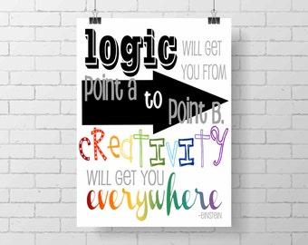 Inspirational print -modern art - teen decor- wall art - Einstein quote - Logic and Creativity - classroom print- motivational