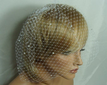 French Russian Birdcage Veil with Pearls by Susan Carol Bridal