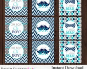 Party Decorations Boys Mustache Shower -- Bow Tie Cupcake Toppers Navy Blue Aqua and Gray Retro Little Man Design -- Instant Download File