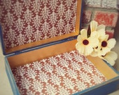 LARGE Memory Box - Shabby Chic Navy Blue and Gold SHABBY CHIC wood Trinket box, Keepsake box
