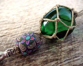 Macrame keychain, andara crystal glass, handmade flower pattern millefiori polymer clay bead and hemp cord, keyring, bag charm, green andara