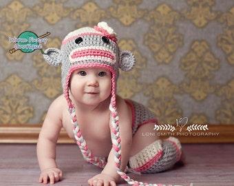 Mrs. Sock Monkey Hat, Diaper Cover & Leg Warmers Outfit - Baby Newborn Girl Boy Costume Halloween Preemie Christmas Thanksgiving Photo Prop