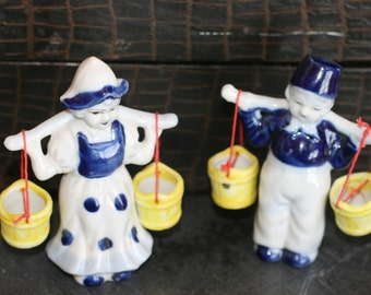 Dutch Holland Boy and Girl Porcelain Figurines, Delft Blue and Yellow, Made in Occupied Japan, Collectibles
