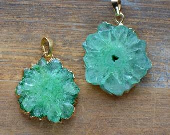 1 - Green Stalagmite Slice Pendant in 24K Gold Plated Edging Gem Gemstone Jewelry Making Supplies (K016)