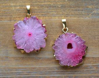 1 - Pink Stalagmite Slice Pendant in 24K Gold Plated Edging Gem Gemstone Jewelry Making Supplies