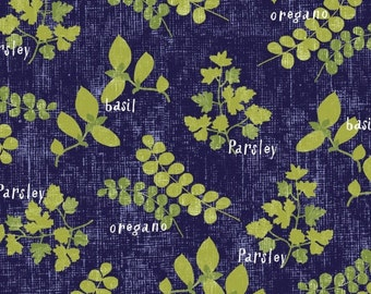 Windham Fabrics - Cooking Italiano - Fresh Herbs - Blue/Green - Novelty Fabric - Choose Your Cut 1/2 or Full Yard