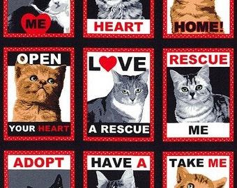 """Windham Fabrics - Rescue Me - Cat Panel - PANEL Fabric - 24"""" x 44"""""""