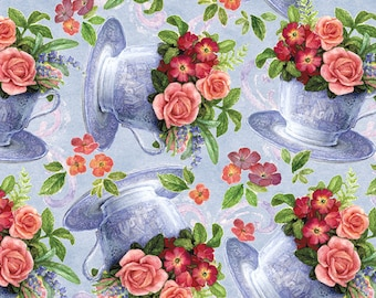 David Textiles - Sweet Tea - Tea Cups and Roses - Blue - Choose Your Cut 1/2 or Full Yard