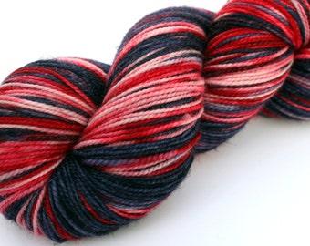 "Kettle Dyed Sock Yarn, Superwash Merino, Nylon and Silver Stellina Fingering Weight, in ""Bandanna"""