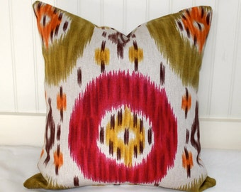 Magenta, Olive Green, Gold and Ivory Ikat Pillow Cover / 18 X 18 / Same fabric both sides