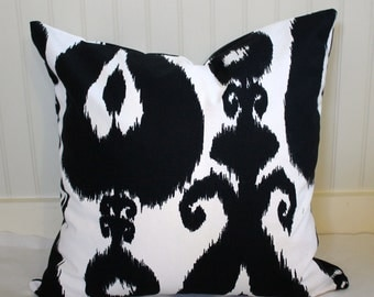 IN STOCK / Black and White IKat Pillow Cover / 20 X 20 /  Same fabric both sides