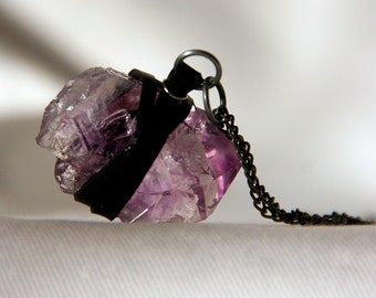 Raw Amethyst Crystal Wrapped in Recycled Bike Tube