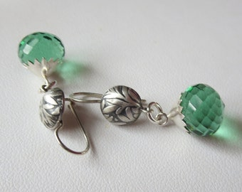 Green Quartz and Sterling Silver Earrings