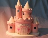 Pink Princess Castle Piggy Bank  Personalized
