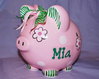 Piggy Bank LARGE Ceramic- Pink Crazy Daisy