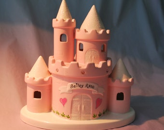 Pink Princess Castle Piggy Bank  Personalized