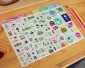 Penguin Loves Travel Stickers - Diary Sticker Set //Landmark,Message, Point Sticker,Kawaii // 6Sheets, 600 Pcs
