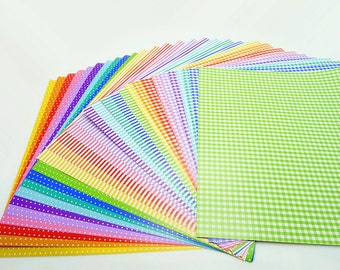Polka Dots Stripes and Checks Origami Square Paper Pack for Origami Paper Project - 30 sheets 20cmX20cm