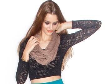 Handmade heather Knit long Infinity Scarf