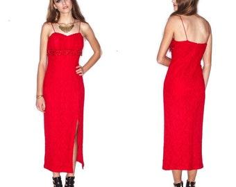 Vintage 90s Ruby Red Lace  Beaded Fringe Dress// Hip hugging retro foxy dress