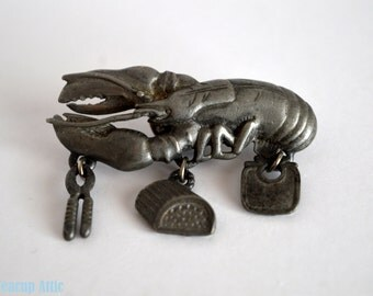 ON SALE SAVE 25% Silver Tone Lobster Brooch, Pin