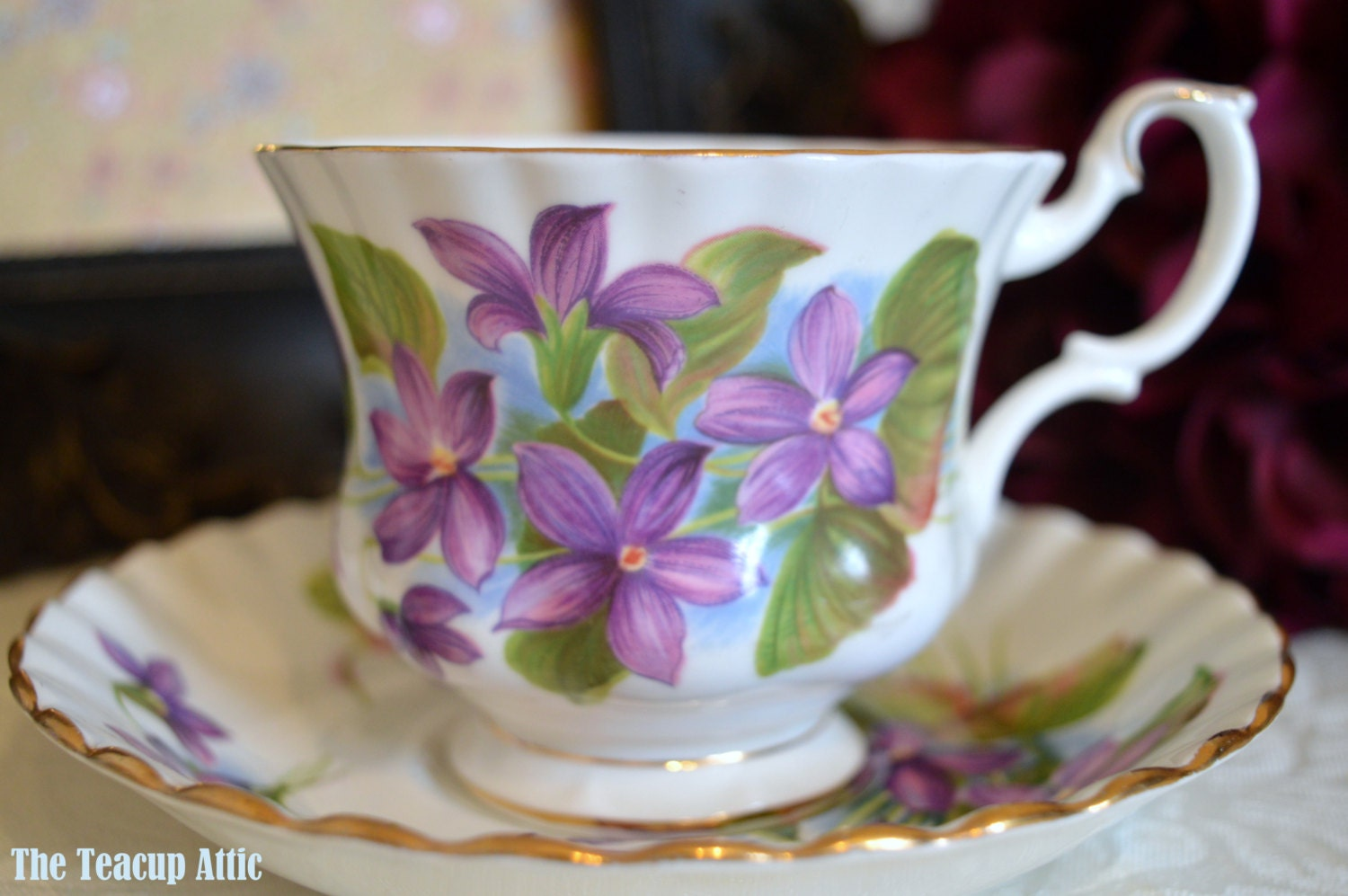 ON SALE Royal Albert Purple Violet Teacup and Saucer, English Bone china, Garden Party, Wedding Gift,  ca. 1970-1980