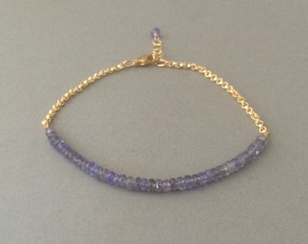 Tanzanite Gemstone Beaded Gold Bracelet also available in Silver