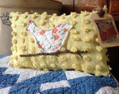 Primitive Summer Bird pillow tuck~ orange flowers~ prim decor~ vintage yellow chenille~ vintage quilt~ zinnia