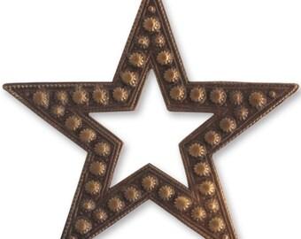 Vintaj 45mm Beaded Star  - Natural Brass