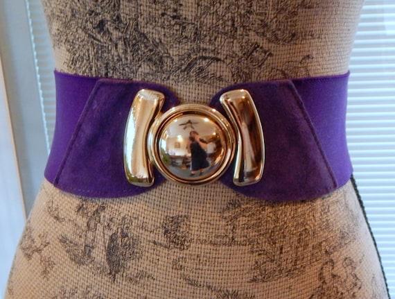 vintage wide purple belt elastic stretch belt large gold