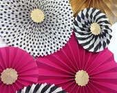 Hot Pink Black and Gold Glitter || Pink and Black Glitter Backdrop || Black and White Stripe Paper Fans || Black and White Bridal Shower