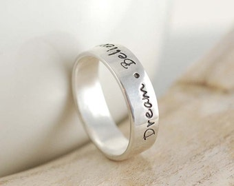 Personalized Ring - mom ring - sterling silver ring - hand stamped ring - inspiration ring