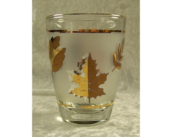 5 Golden Foliage Juice Glasses Libbey Frosted Gold Leaf