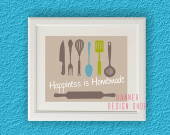 Happiness is Homemade Art Print Kitchen Decor Interior Design Wall Printing Home Decor Beige Lime Elements Tableware Food Bakeing Wall Decor